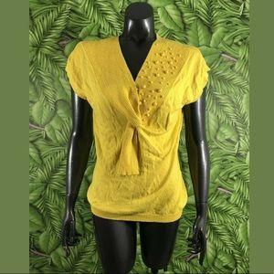 Trina Turk yellow beaded Ribbed Top